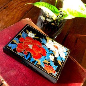 SOLD! Black Floral Vintage Compact